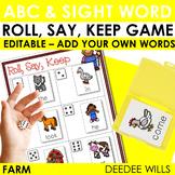 Farm ABC and Sight Word Roll, Say, Keep ~ Editable