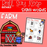 Farm ABC and Sight Word Roll, Say, Keep ~ Editable