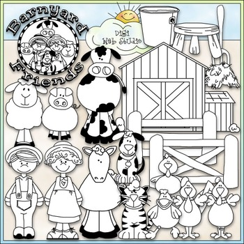 Barnyard Friends Clip Art - Farm Animals Clip Art - CU Clip Art & B&W