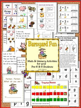 Farm Math and Literacy Activities for Pre-K and K