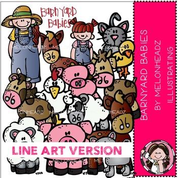 Barnyard babies clip art - LINE ART- by Melonheadz