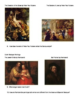 Baroque Art Activity for AP Euro or AP Art History