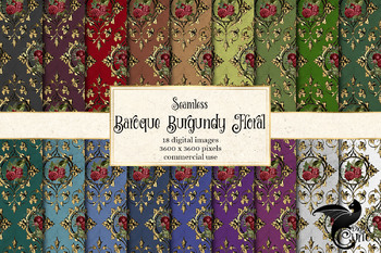Baroque Burgundy Floral Digital Paper