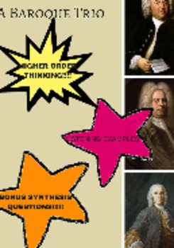Articles (3) + Higher Order Thinking Questions for Grades 7-9: Baroque Composers