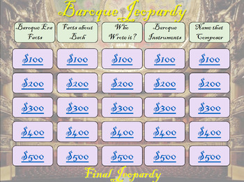 Baroque Music Jeopardy
