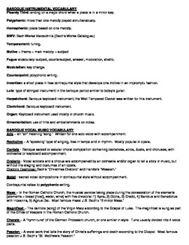 Baroque Music Period Composers Worksheet, Vocabulary and a