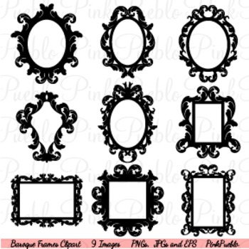 Baroque and Vintage Frames Clipart Clip Art - Commercial a