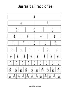 Barras de Fracciones - Fraction Bars - Spanish