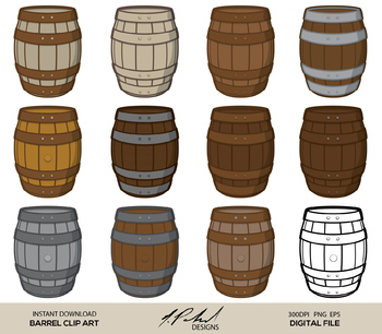 Barrel Digital Clip Art - Digital File - Barrel Clipart - Barrel Clip Art