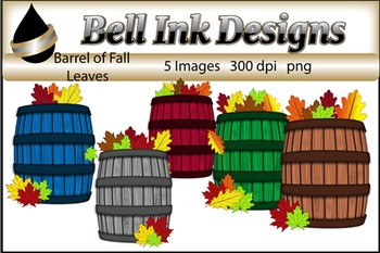 Barrel of Fall Leaves Clipart