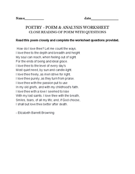 Barrett Browning  - How Do I Love Thee - Fun worksheet & Activity for Poem