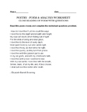 Barrett Browning  - How Do I Love Thee - Fun worksheet & A