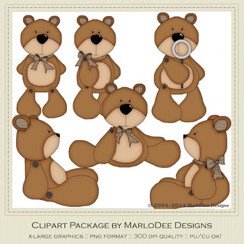 Barry Teddy Bear Brown Set Clip Art Graphics