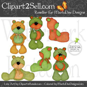 Barry Teddy Bear Irish Colors Clip Art Graphics Pkg 1