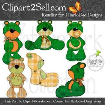 Barry Teddy Bear Irish Plaid Colors Clip Art Graphics Pkg 2