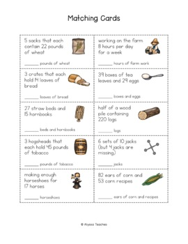 Bartering Math Matching Cards and Worksheet *Cross-Curricular* (VS.4)