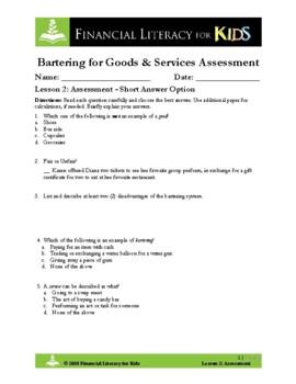 Lesson 2: Bartering for Goods & Services Assessment