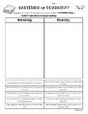 Bartering or Scarcity? Economics Sorting Worksheet