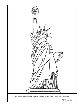 Bartholdi. Statue of Liberty.  Coloring page and lesson plan ideas
