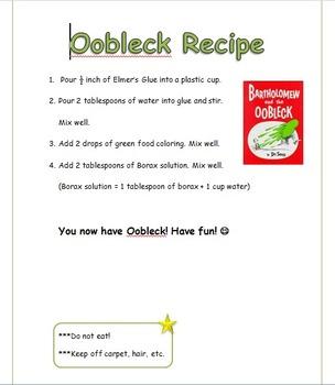 Bartholomew and the Oobleck Recipe