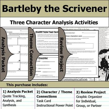 Bartleby the Scrivener - Character Analysis Packet, Theme Connections, & Project