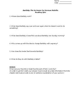 Bartleby the Scrivener (Herman Melville) - Reading Quiz