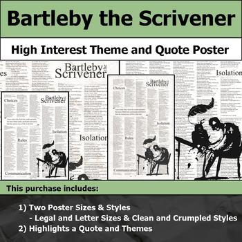 Bartleby the Scrivener - Visual Theme and Quote Poster for Bulletin Boards