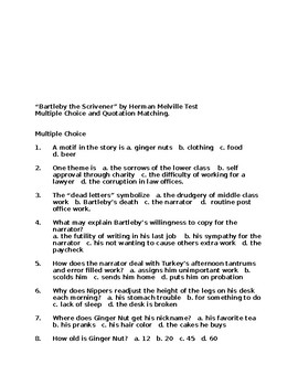 Bartleby the Scrivener by Test Multiple Choice and Matching  Answer Key Provided