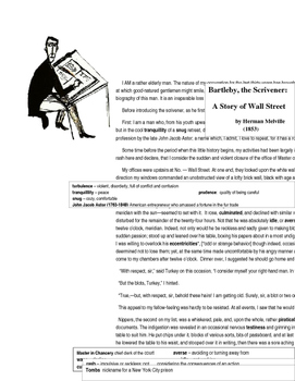 Bartleby the Scrivener -- with Vocabulary Support