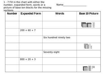 Base 10 Assessment (Hundreds,Tens,Ones)