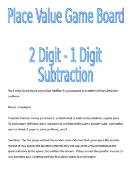 Base 10 Block Game Board and 2 Digit - 1 Digit Subtraction