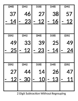 Base 10 Block Game Board and 2 Digit Subtraction