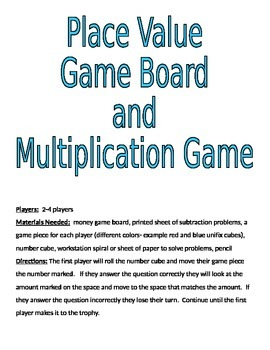 Base 10 Block Game Board and Multiplication Game