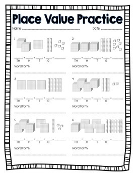 base 10 block place value practice by create love teach tpt. Black Bedroom Furniture Sets. Home Design Ideas