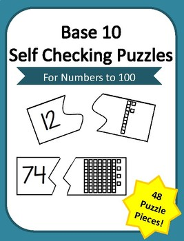 Base 10 Block Self Checking Number Recognition Puzzles- Numbers to 100