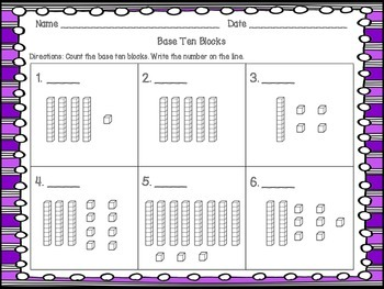 Base 10 Block Task Cards within 100 / SCOOT and worksheet