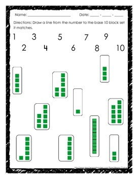 Base 10 Block Work for 1-20: Shade in blocks, Fill in numbers, Matching