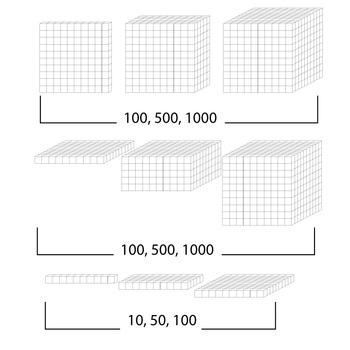 Base 10 Block (white) - Clip Art - Commercial Use OK! {Z is for Zebra} - oblique