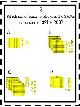 Base 10 Blocks Addition and Subtraction Task Cards and Activity Common Core