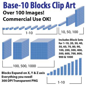 Base 10 Blocks (Blue) - Clip Art - Commercial Use OK! {Z is for Zebra} - oblique