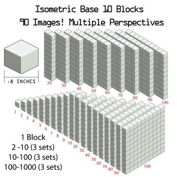 Base 10 Blocks (grey) - Clip Art - Commercial Use OK! {Z is for Zebra}