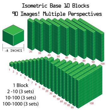 Base 10 Blocks (green) - Clip Art - Commercial Use OK! {Z is for Zebra}