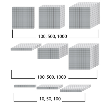 Base 10 Blocks (Grey) - Clip Art - Commercial Use OK! {Z is for Zebra} - oblique