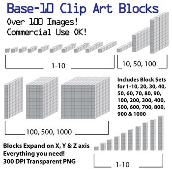 Base 10 Blocks (Grey) - Clip Art - Commercial Use OK! {Z i