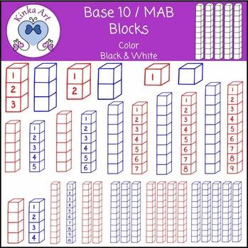 Base 10 Blocks (MAB) Clip Art