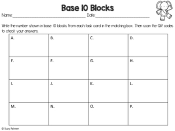 Base 10 Blocks Place Value Task Cards (2 digit) with QR Codes