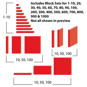 Base 10 Blocks (Red) - Clip Art - Commercial OK! {Z is for Zebra} - oblique