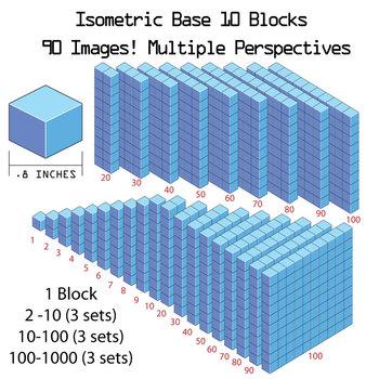Base 10 Blocks (blue) - Clip Art - Commercial Use OK! {Z is for Zebra}