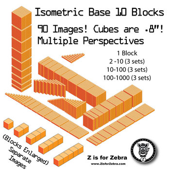 Base 10 Blocks (orange) - Clip Art - Commercial Use OK! {Z is for Zebra}