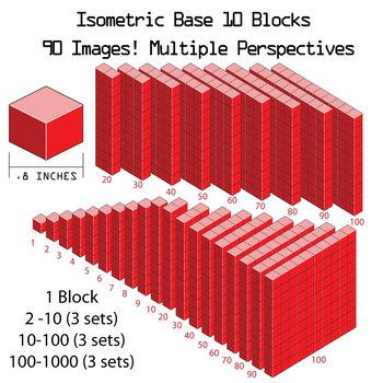 Base 10 Blocks (red) - Clip Art - Commercial Use OK! {Z is for Zebra}